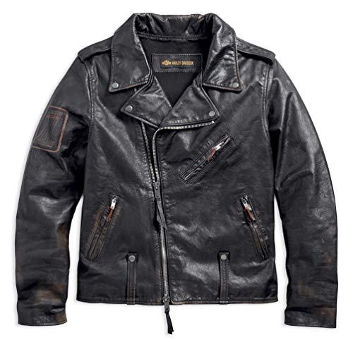 Harley-Davidson Men's Master Distressed Slim Fit Leather Biker Jacket 98003-18VM (Large) Black