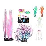 Cozy69 Decoraciones brillantes para acuarios, simulación artificial de coral, plantas de silicona, plantas acuáticas brillantes, ornamentos para acuarios y paisajes de peceras