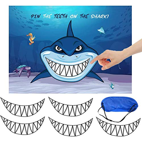 Shark Party Supplies, Pin The Teeth on The Shark, Shark Party Games, 15PCS Teeth for Shark Theme Kids Under the Sea/Pool/Beach Birthday/Baby Shower Party Supplies Decorations