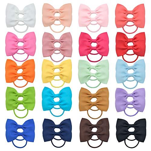 40 piezas bebé niñas lazos para el cabello cintas para el pelo cinta grosgrain pelo elástico banda de goma titular de cola de caballo accesorios para el cabello para niños pequeños