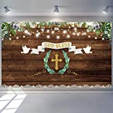 6.1 x 3.6 ft God Bless Baptism Backdrop First Holy Communion Party Decorations Christening Newborn Baby Shower Rustic Wood Ribbon Photography Background
