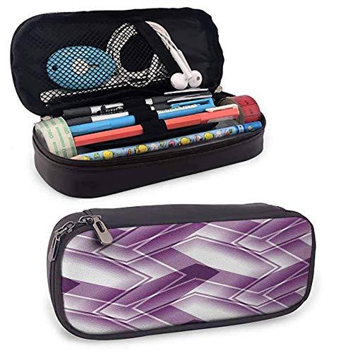 Schreibwaren Stift Fall Trippy Digital Shapes Stilisierte geschwungene Linien Muster Künstlerische moderne Illustration Schreibtisch Aufbewahrungsbox Violett Weiß