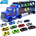 Car-Truck-Toys,Transport Die Cast Vehicles Cars Carrier Toys,Includes 12 Mini Cars and City Map,Great Cars Toys Gift for Age 3 4 5 6 Year Old Boys and Girls?A001-Blue?