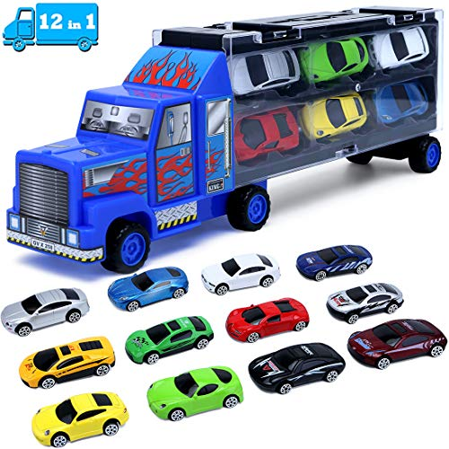 Cars Toddler Toys for Boys 3 4 5 6 7 Year Old Gifts,Kids Car Toys Carrier Truck Toy Set,Die-Cast Vehicles Includes 12 Mini Toy Cars for Age 3-7 Boy
