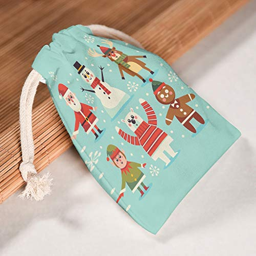 XJJ88 Set of 12 Christmas Tree New Year Storage Drawstrings Bag - Style Printting Reusable Toy Pouch fits Thanksgiving Party Present Wrap White 12 * 18cm