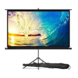 Projector Screen with Stand 84 inch - Indoor and Outdoor Projection Screen for Movie or Office Presentation - 16:9 HD Premium Wrinkle-Free Tripod Screen for Projector with Carry Bag and Tight Straps
