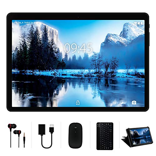 Tablet 10 Pollici YESTEL 4GB RAM+64GB ROM +Espanso 128GB con Schermo IPS HD Quad Core Tablets Dual LTE SIM con WIFI | 8000mAh | Bluetooth | GPS | con Tastiera e Mouse – Nero