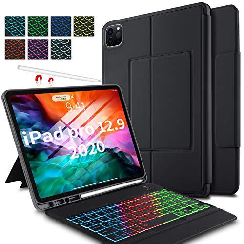 ELTD Tastatur Hülle für iPad Pro 12.9 2020 (Deutsches QWERTZ-Layout), Hülle mit 7 Farben LED-Hintergrundbeleuchtung Kabellose Tastatur für Apple iPad Pro 12.9 2020 (Schwarz)