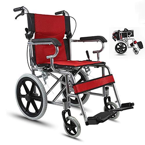 HSRG Fauteuil Roulant de Transport Pliant en Acier léger, avec accoudoirs pivotants, Repose-Pieds pivotants, pour Personnes âgées, handicapés,Red