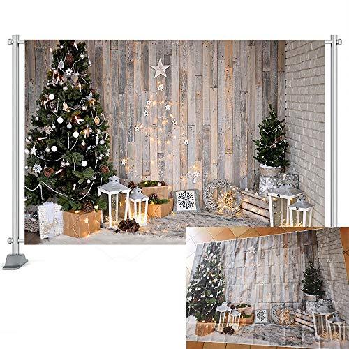 Fondo de fotografía Árboles de Navidad Corona de Ventana Fondo de Nieve de Invierno Casa de Madera Sesión de Fotos Prop A9 10x10ft / 3x3m