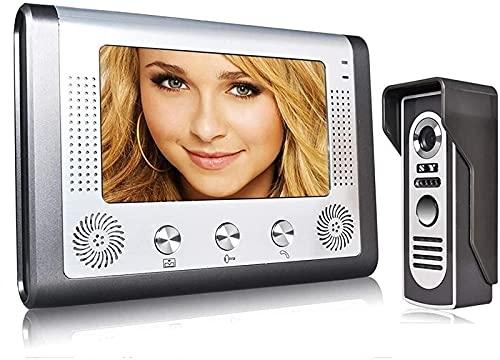 DZCGTP Video Kit de intercomunicador de Timbre de videoportero de 7 Pulgadas con 1 cámara y 1 Monitor con visión Nocturna