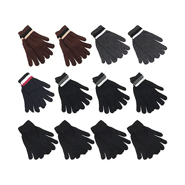 Gelante 6-12 Pairs Adult Winter Knitted Magic Stretch Gloves
