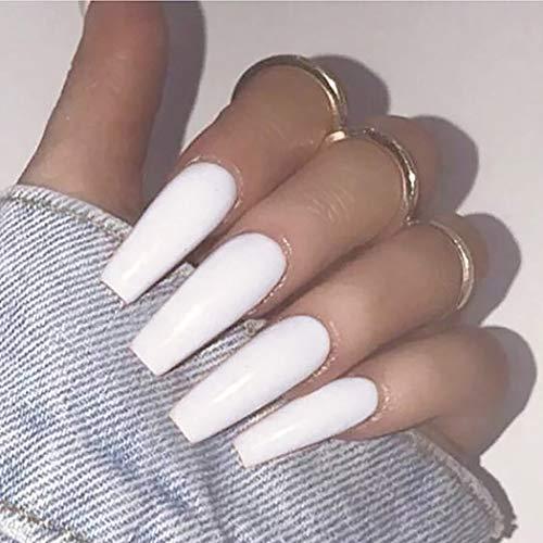 Brishow Künstliche Nägel Sarg Falsche Nägel Weiß Lange Künstliche Fingernägel Sargform Nägelspitzen gefälschte Nägel Acryl Stück auf Nägeln 20Pcs für Frauen und Mädchen