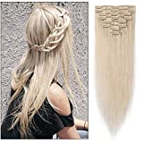 Bleach White Clip in Human Hair Extensions 16 inch Soft Straight Remy Hair for Women 8pcs 18 Clips Full Head (16'=65g #70)