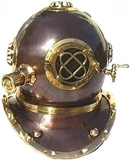 EcWorld Enterprises 7728215 Full Size Antique Reproduction U.S. Navy Mark V Brass Diving Helmet