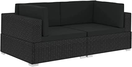 vidaXL 2X Sectional Corner Chairs with Cushions Sofa Set 2-Seater Backyard Porch Lounge Seat Outdoor Patio Furniture Poly ...