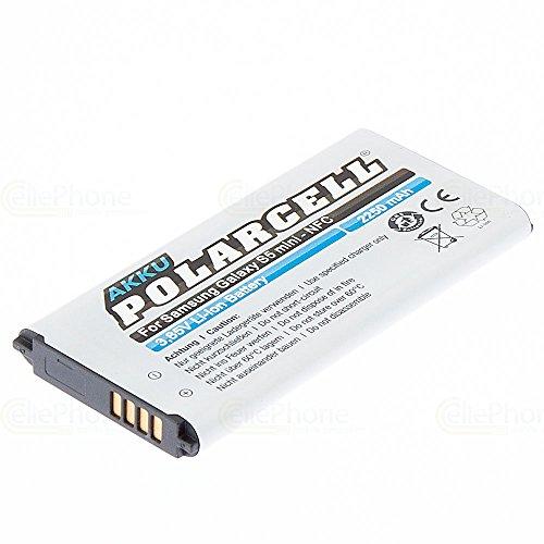cellePhone PolarCell Akku Li-Ion kompatibel mit Samsung Galaxy S5 Mini (SM-G800F) (Ersatz für EB-BG800BBEGWW) - mit NFC