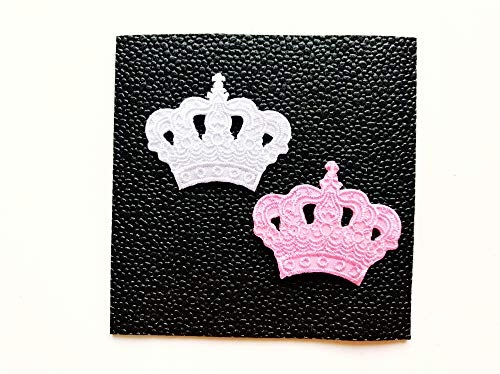 TH Set of 2 Tiny Mini Princess Crown White Pink Cute Cartoon Sew Iron on Embroidered Applique Badge Sign Patch Clothing Costume
