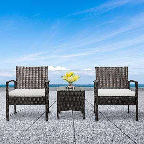 HANTURE Juego de muebles de jardín de ratán con 2 sillas de brazo y 1 mesa de café para exteriores, tejido bistro, juego de mesa de mesa de comedor de ratán degradado (marrón)