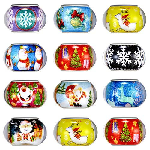 100pcs Mix Silver Color Large Hole Bead Resin Christmas Style Fit European Charm Bracelet Spacer for Jewelry Making (SD02)