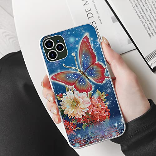 Butterfly with Flower On Lake Surface Beautiful Scene Gift for Butterfly Lovers Blue Best Gift Phone Case Cover for iPhone