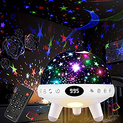 Yachance Baby Star Projector Night Light for Kids with Music White Noise Sound Machine Baby Sleep Soother Nursery Bedside Lamp 9 Natural Sounds 20 Lullabies Remote Control Adapter Timer (White)