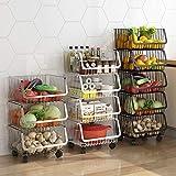 ABCSS Estante de Cocina,Multicapa móvil de Piso a Techo,Canasta de Almacenamiento de Rejilla para macetas de Juguetes para Frutas y Verduras,Canasta de Acero Inoxidable.