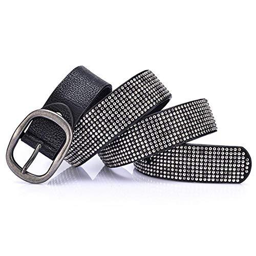 Cinturón Cinturón De Mujer En Estilo Punk con Remaches, Cinturón De Cuero De Vaca Real para Mujer, Cinturón De Mezclilla Retro para Hombre, Hebilla De