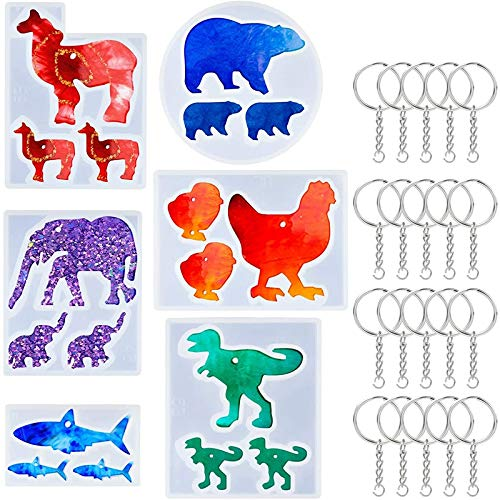 Didad 6PCS Animal Resin Silicone Keychains Epoxy Resin Casting Molds with 20Pcs Key Rings for DIY Necklace Pendant