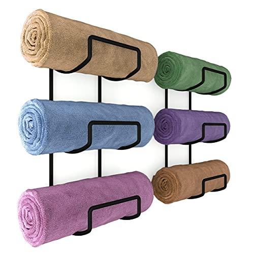 Wallniture Moduwine Bathroom Towel Rack Wall Mounted Set of 2, 3 Sectional Bathroom Towel Holder and Yoga Mat Storage Rack, Metal Black