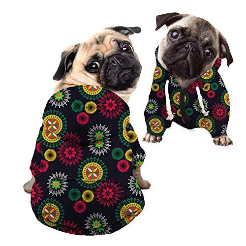 HUGS IDEA Sudadera con capucha para perro, elegante mandala fuegos artificiales Streetwear perro abrigo, abstracto tribal floral gato con capucha camisas - L