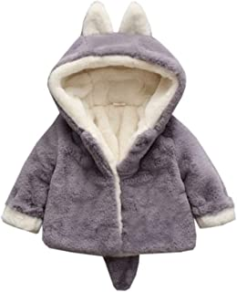 ALLAIBB Newborn Baby Girls Winter Coat Thick Warm Jacket Bunny Cartoon Outerwear Size 90 (Gray)