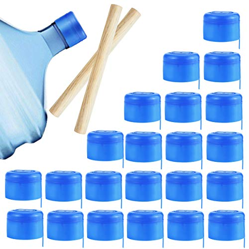 Wpxmer 40 Pack Non Spill Cap, Anti Splash Bottle Caps with 2 Pieces Crowbar, Water Bottle Caps for 55mm 3 and 5 Gallon Water Jug
