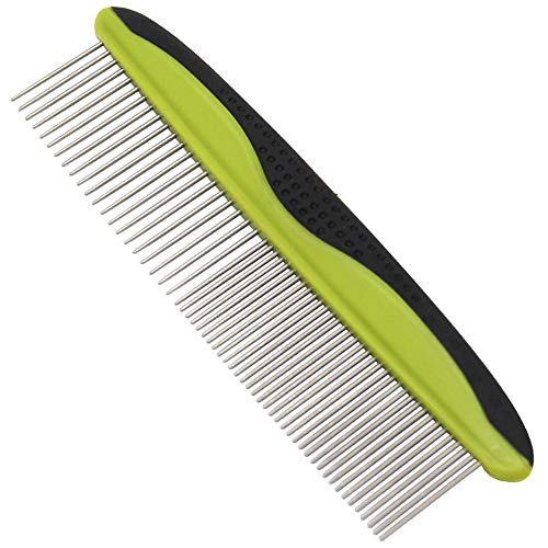 MG+ Dog Comb, Cat Comb with Rounded and Smooth Ends Stainless Steel Teeth and Non-Slip Grip Handle, Pet Comb for Long and Short Haired Dogs, Cats and Other Pets (Green)