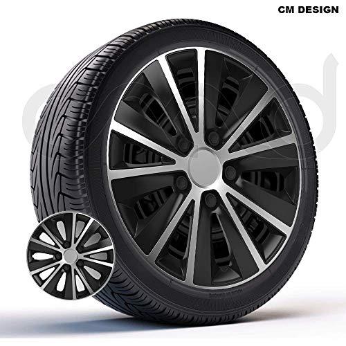 CM DESIGN 4 x 14 Zoll Rapide DC Silber/Schwarz Auto-Radkappen Radzierblenden