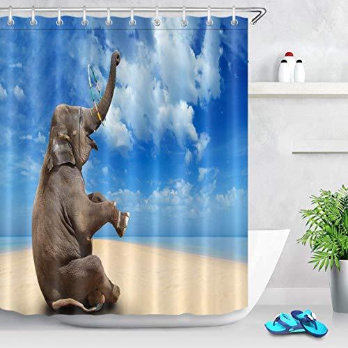N\A Niedlicher Elefant Hula Hoop Blauer Himmel Sandstrand Polyester Stoff Duschvorhang Sets Mit Haken Kreativer Badezimmer Duschvorhang