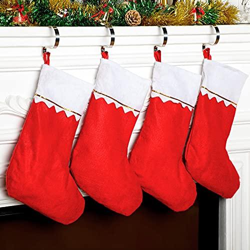 4 Calcetines Rojos de Fieltro de Navidad Media Colgante de Chimenea de Navidad y 4 Soportes para Calcetín Navideño Colgador de Gancho de Repisa Colgador de Calcetín de Acero Inoxidable