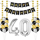 Palloncini 40 Anni Compleanno, Kit Decorazioni 40 Compleanno, palloncini numeri 40 Argento 102 CM, happy birthday striscione neri oro stella, addobbi per feste di compleanno Adulti