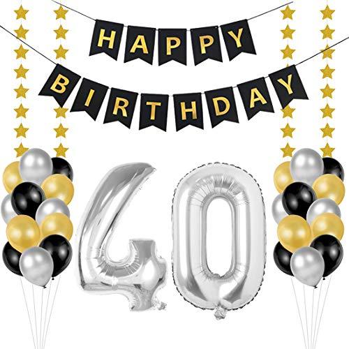 40 Ans Décoration Anniversaire, Chiffre Ballons 40 Fête d'anniversaire Décoration avec Bannières de Joyeux Anniversaire Hommes et Femmes Adult Decor de fête Ballons Feuille D'argent
