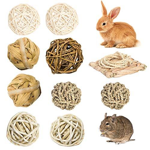 LLGL-EU Juego de 10 bolas de ratán para masticar, bolas de hierba, alfombrilla de césped, juguete para el cuidado dental para animales pequeños, hámsters, conejos, cobayas, chinchilla (10 unidades)