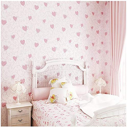 Fotomural Mural Papel Pintado Cute Cartoon 3D Loved Heart Wallpaper Azul Rosa Bebé Niña Dormitorio Decoración Fondos De Pantalla Auto-Adhesivo Habitaciones Infantiles Papel De Pared Ez132