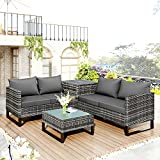 MOWIN 4 Seater Outdoor Garden Rattan Furniture Set Patio Conservatory Modular Corner Sofa Coffee Table Storage Box Weather Proof Rattan Wicker Weave Steel Frame with Grey Cushions
