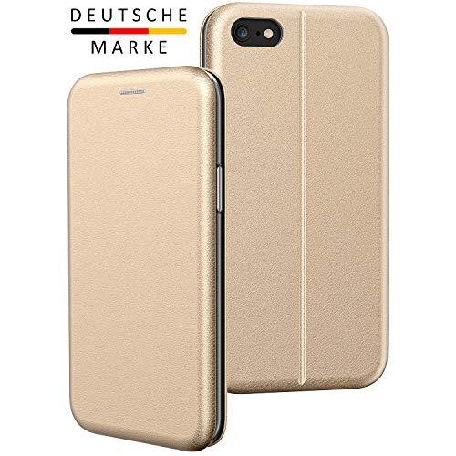 BYONDCASE iPhone 6s Plus Hülle Gold, iPhone 6 Plus Handyhülle [Deluxe Leder Flip-Case Klapphülle] Fullbody 360 Grad Rundumschutz Ultra Slim kompatibel mit dem iPhone 6 Plus Case