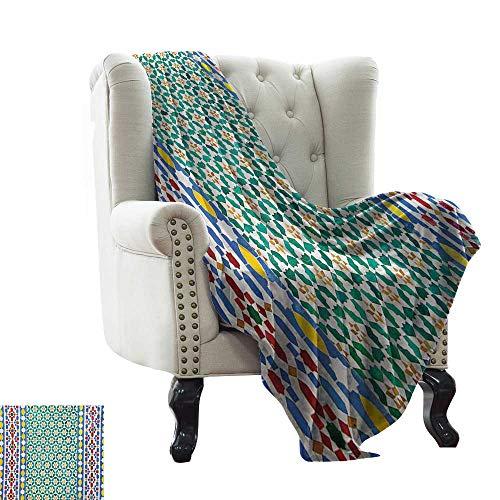 BelleAckerman Manta de Piscina marroquí, Colorida Mosaico marroquí de Pared Estilo Oriente Medio Artesanía Detalles Verticales, Manta de Terciopelo 60 x 70 Pulgadas