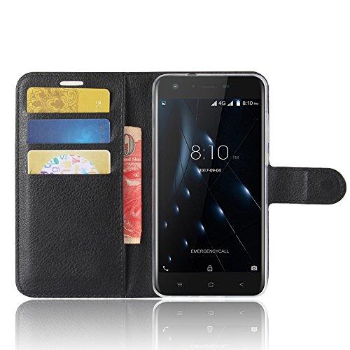 SMTR Blackview A7 pro Wallet Tasche Hülle - Ledertasche im Bookstyle in Schwarz - [Ultra Slim][Card Slot][Handyhülle] Flip Wallet Case Etui für Blackview A7 pro