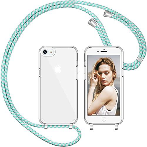 Nupcknn Funda de silicona líquida para iPhone 7/8/SE 2020, funda para el cuello (extraíble), funda con cordón para colgar, funda protectora con banda (polvo verde)