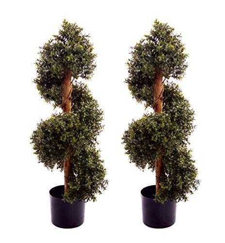 Best Artificial 2x (TM) Natural look 0,9m 90cm bosso topiaria Spiral Trees UV Fade protetta