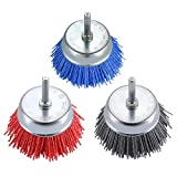 TILAX 3 Inch Abrasive Wire Cup Brush Assorted Cup Brushes 3 Pcs, Nylon Cup Brush for Drill 1/4' Arbor, Grit 80# 120# 320# Cleaning Rust, Stripping and Abrasive, for Drill Attachment