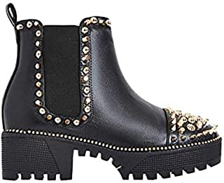 79aee1d835a Michelle Parker Cape Robbin Spiky Rager Black Vegan Leather Gold Spikes  Platform Chelsea Bootie