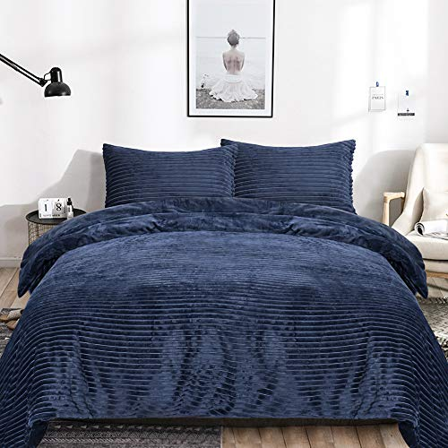 EMME Velvet Flannel Duvet Cover Queen Set 3 Pieces Reversible Bed Blanket Striped Comforter Cover Set with Button Closure Luxury Soft Bedding Set Plush and Warm for Winter Solid Color (Navy,Queen)